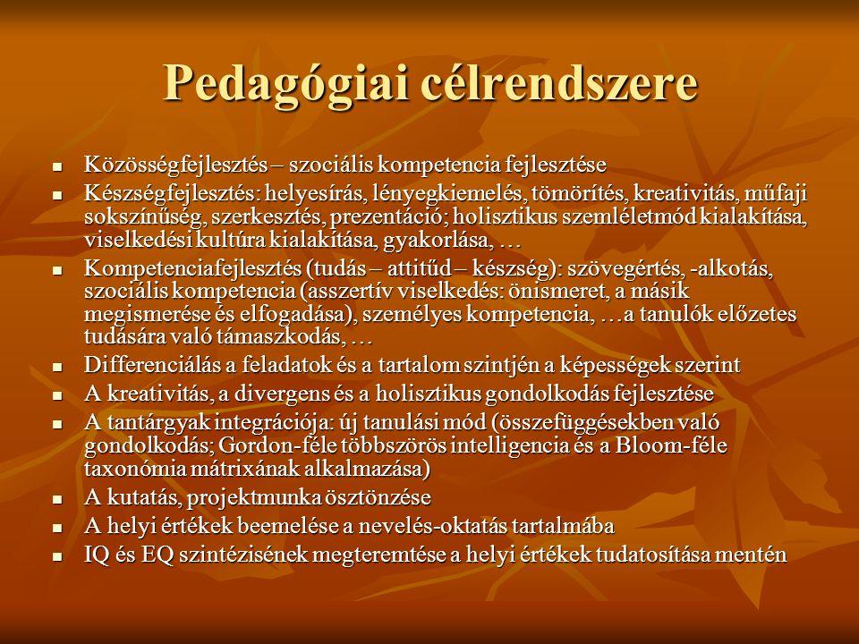 Pedagógiai célrendszere