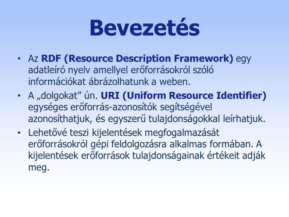Bevezetés Az RDF (Resource Description Framework) egy adatleíró nyelv amellyel erőforrásokról szóló információkat ábrázolhatunk a weben.