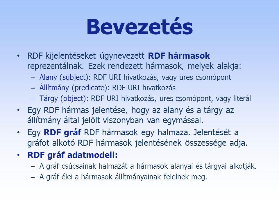 Bevezetés RDF kijelentéseket úgynevezett RDF hármasok reprezentálnak. Ezek rendezett hármasok, melyek alakja: