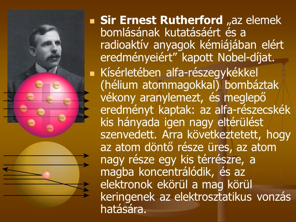 """Sir Ernest Rutherford """"az elemek bomlásának kutatásáért és a radioaktív anyagok kémiájában elért eredményeiért kapott Nobel-díjat."""