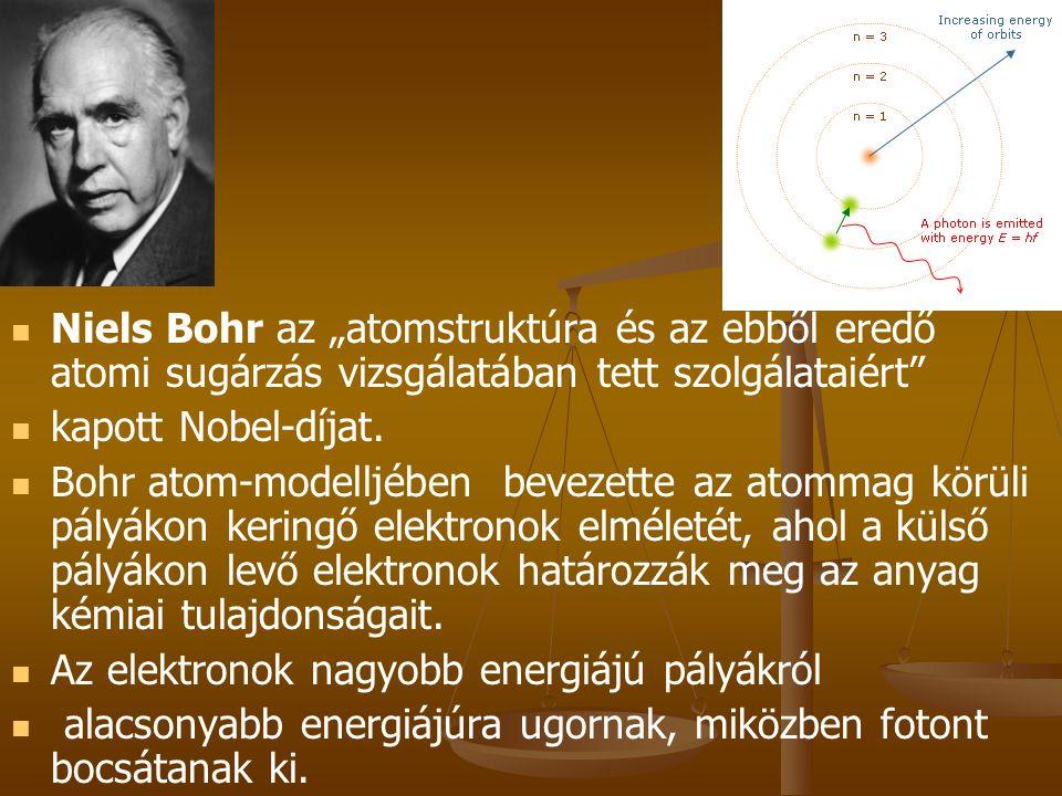 """Niels Bohr az """"atomstruktúra és az ebből eredő atomi sugárzás vizsgálatában tett szolgálataiért"""