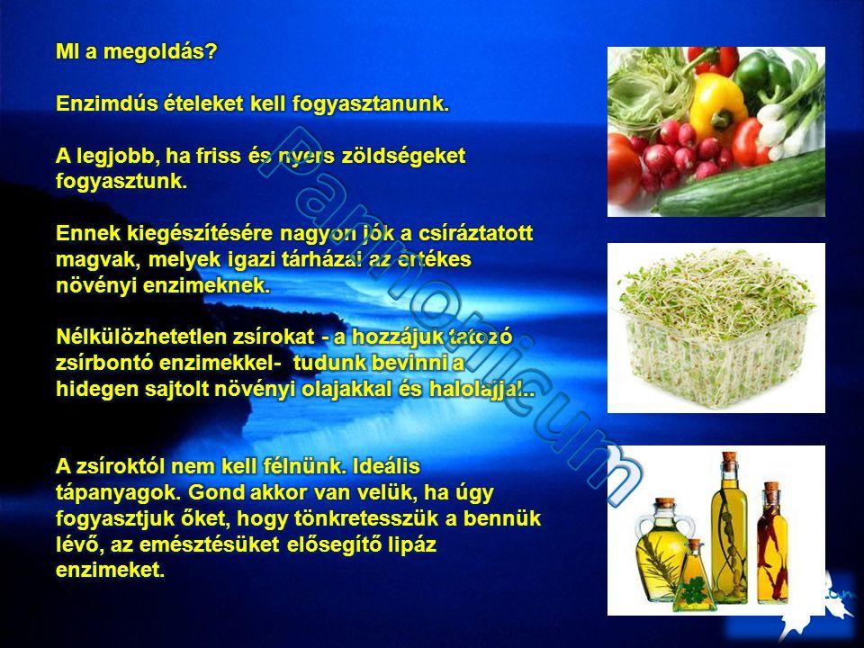 Pannonicum MI a megoldás Enzimdús ételeket kell fogyasztanunk.