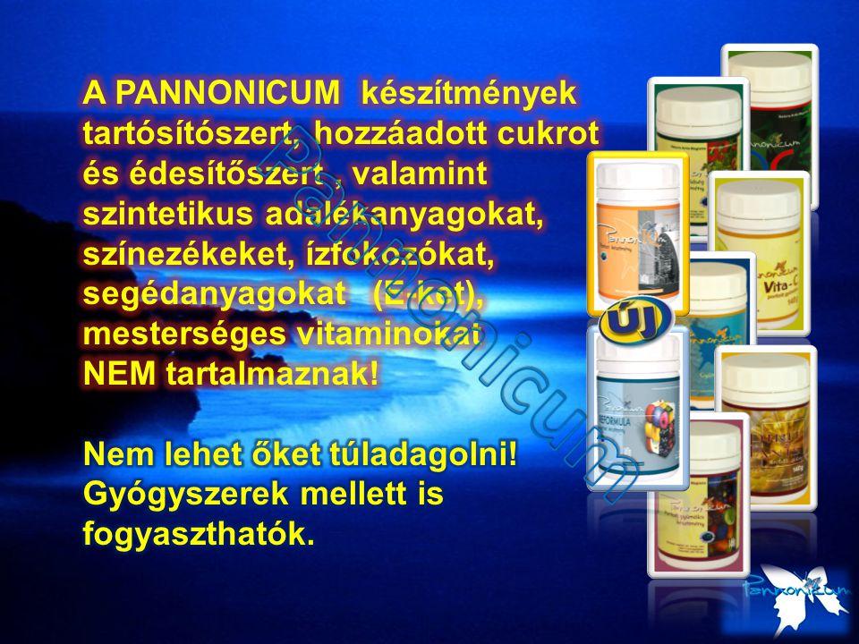 A PANNONICUM készítmények tartósítószert, hozzáadott cukrot és édesítőszert , valamint szintetikus adalékanyagokat, színezékeket, ízfokozókat, segédanyagokat (E-ket), mesterséges vitaminokat