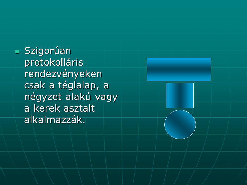 Szigorúan protokolláris rendezvényeken csak a téglalap, a négyzet alakú vagy a kerek asztalt alkalmazzák.