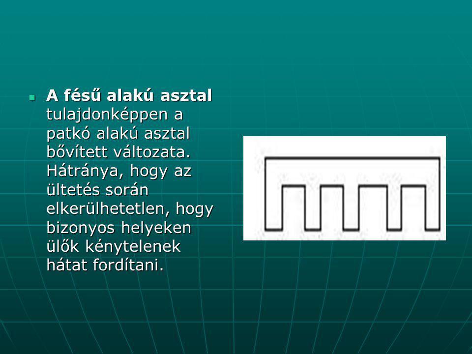 A fésű alakú asztal tulajdonképpen a patkó alakú asztal bővített változata.