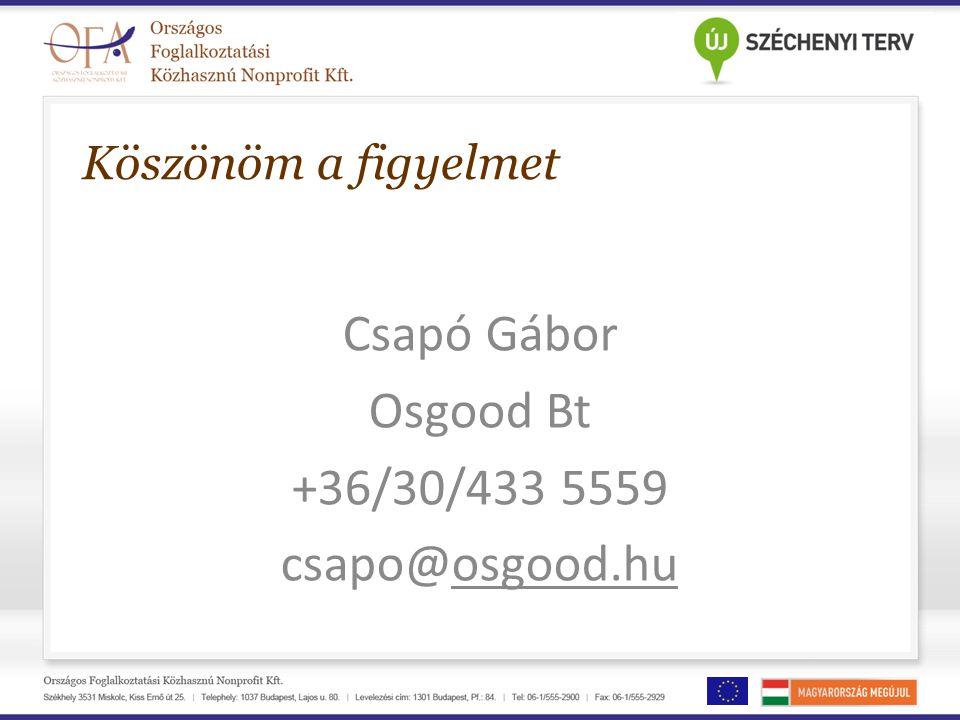 Csapó Gábor Osgood Bt +36/30/433 5559 csapo@osgood.hu