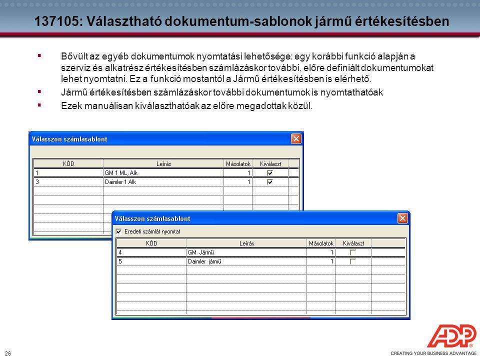 137105: Választható dokumentum-sablonok jármű értékesítésben