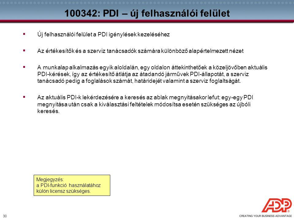 100342: PDI – új felhasználói felület