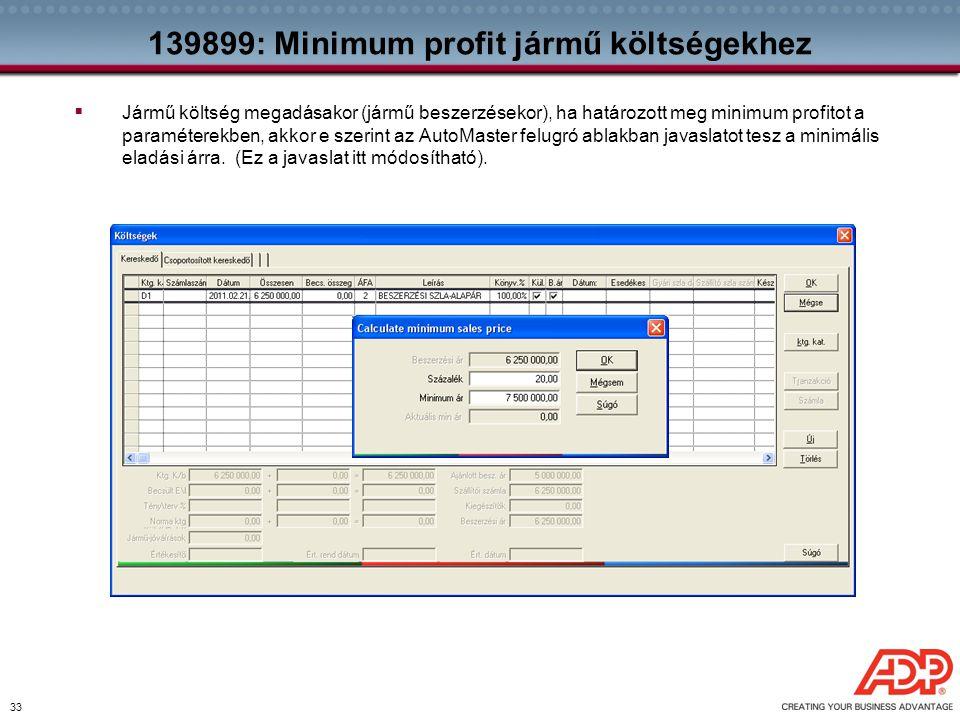 139899: Minimum profit jármű költségekhez