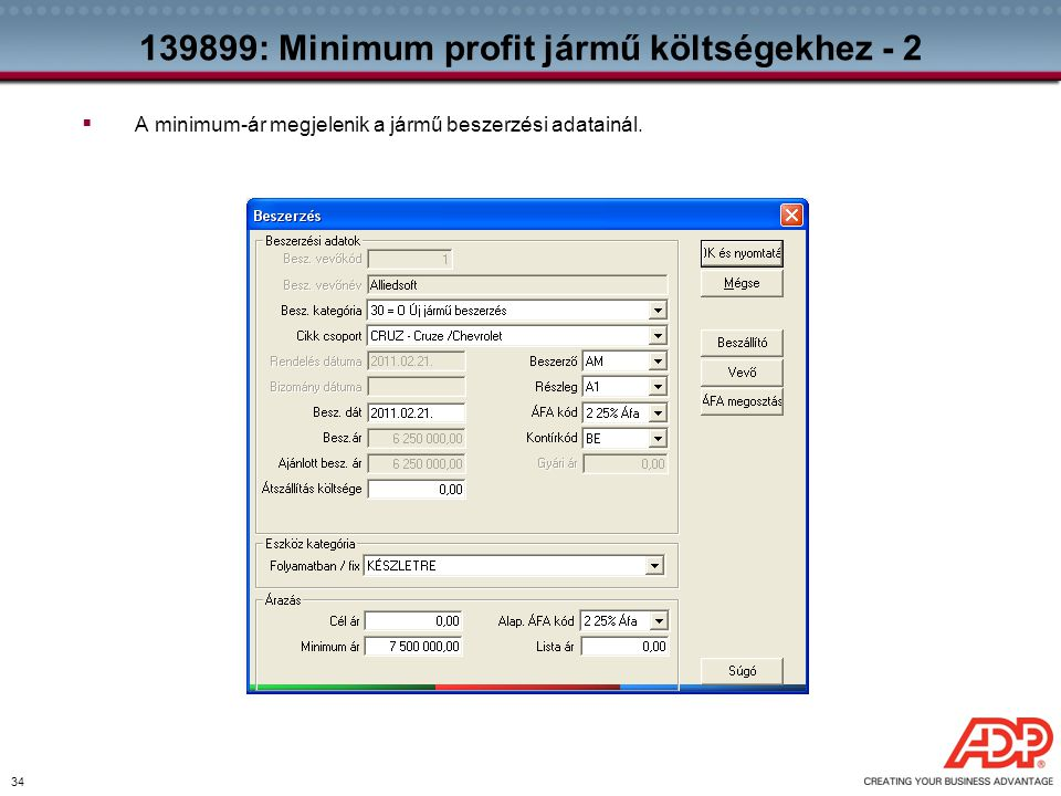 139899: Minimum profit jármű költségekhez - 2