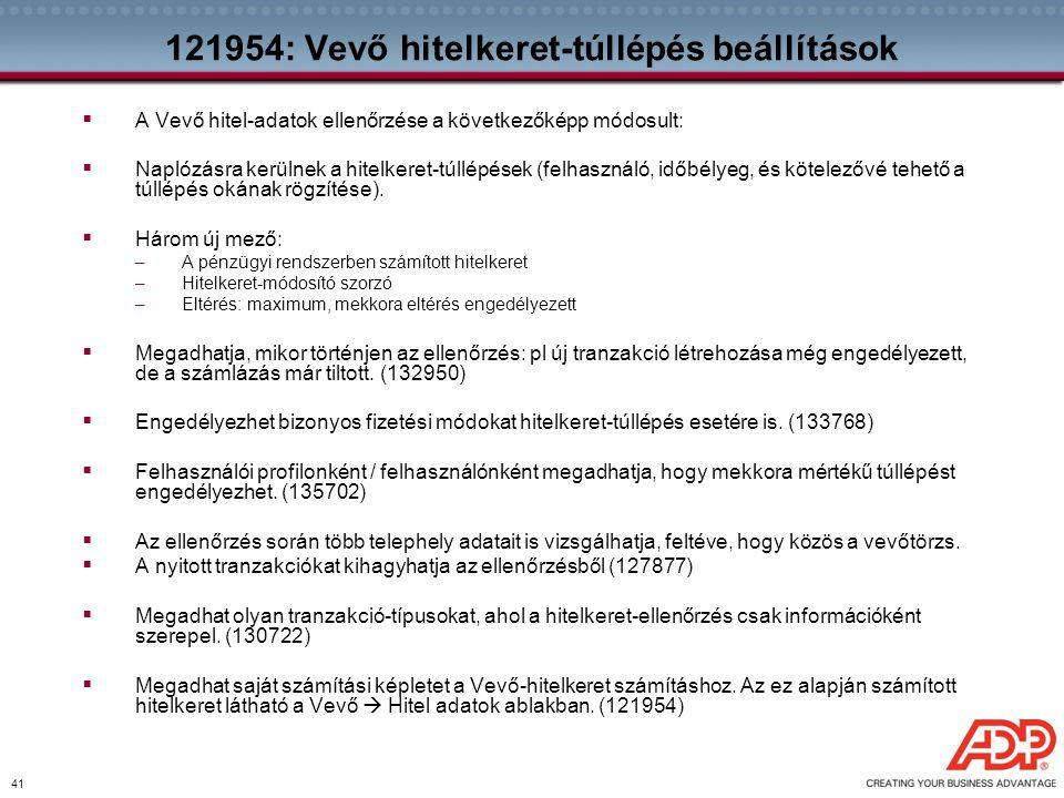 121954: Vevő hitelkeret-túllépés beállítások