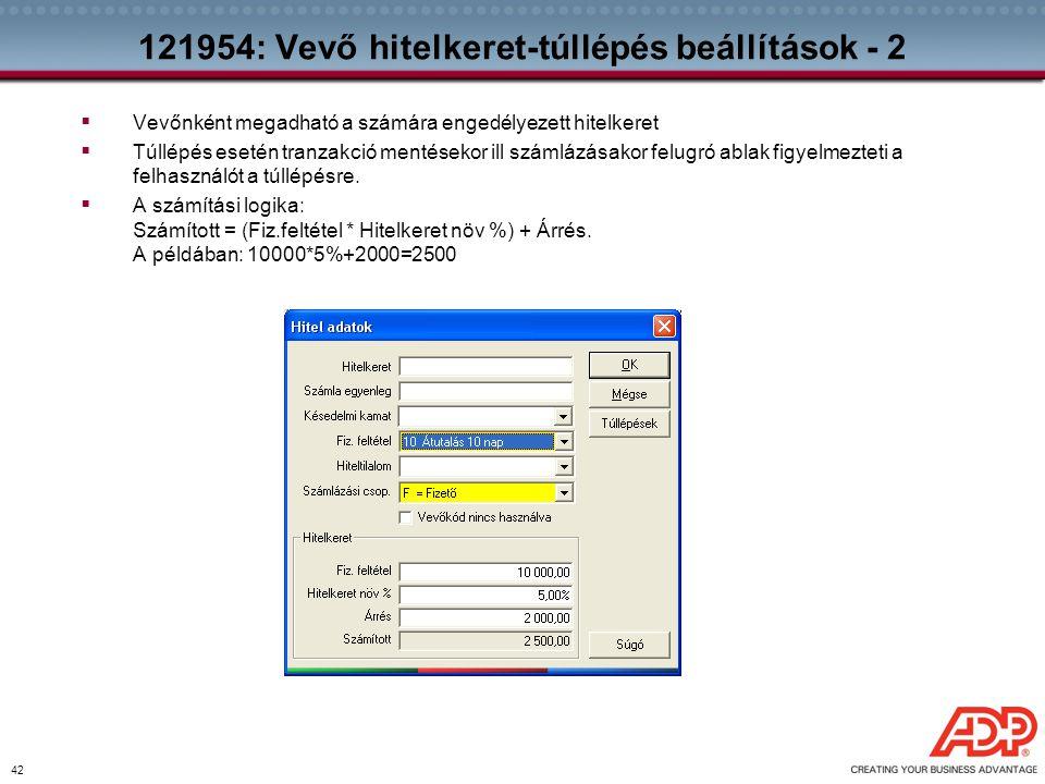121954: Vevő hitelkeret-túllépés beállítások - 2