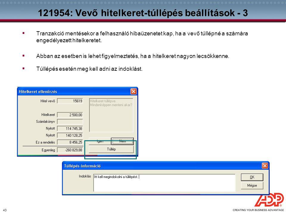 121954: Vevő hitelkeret-túllépés beállítások - 3