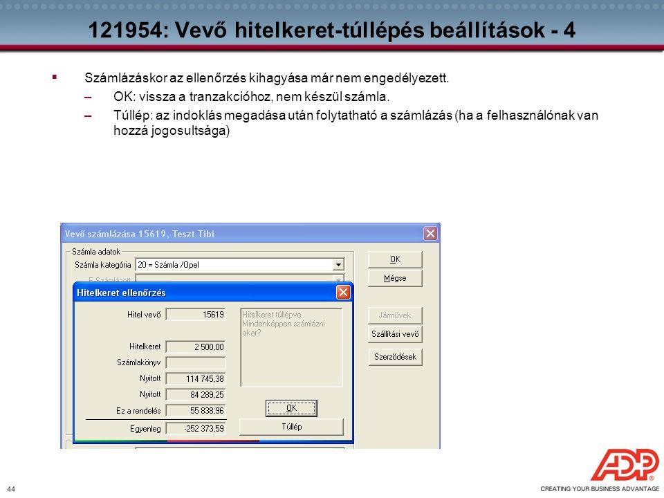 121954: Vevő hitelkeret-túllépés beállítások - 4