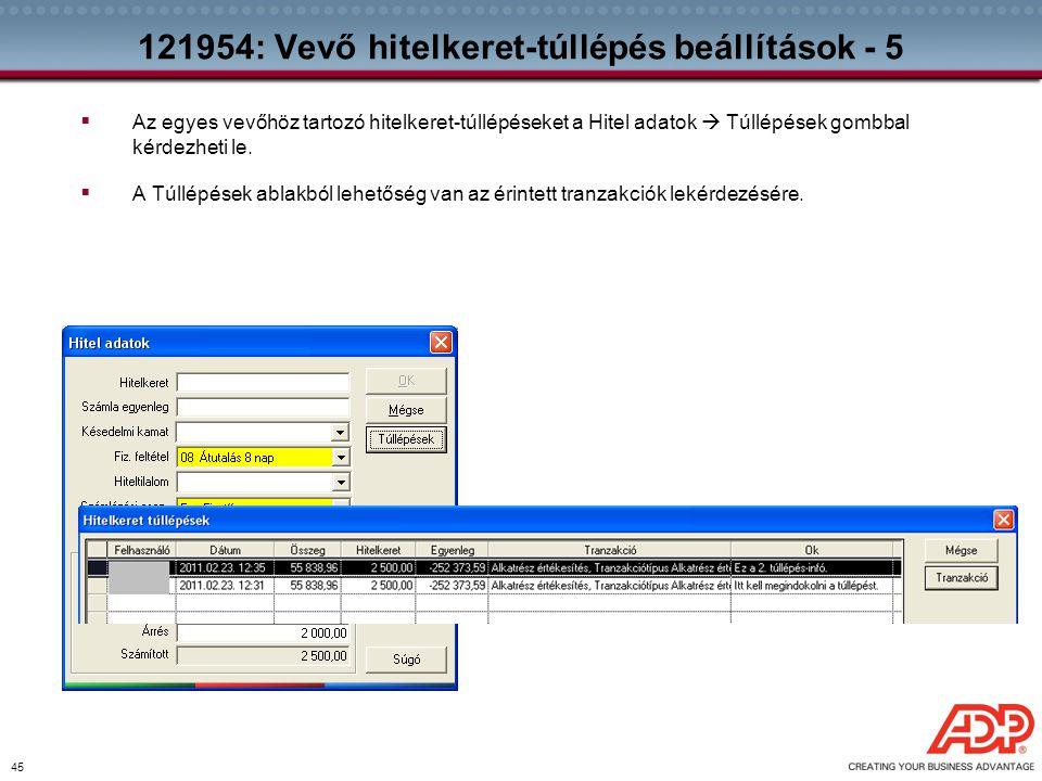 121954: Vevő hitelkeret-túllépés beállítások - 5
