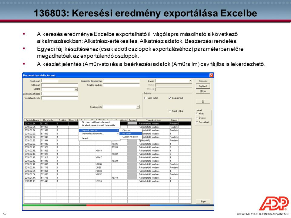 136803: Keresési eredmény exportálása Excelbe