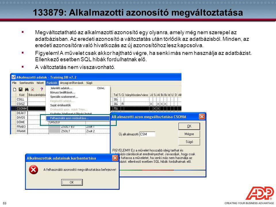 133879: Alkalmazotti azonosító megváltoztatása