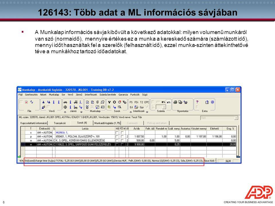 126143: Több adat a ML információs sávjában
