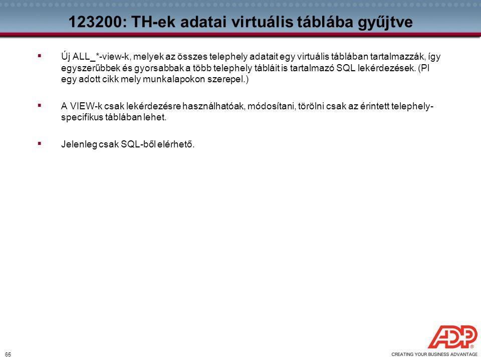 123200: TH-ek adatai virtuális táblába gyűjtve