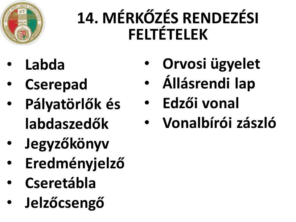 14. MÉRKŐZÉS RENDEZÉSI FELTÉTELEK