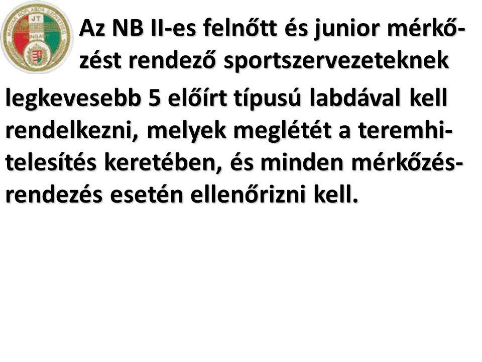 Az NB II-es felnőtt és junior mérkő-zést rendező sportszervezeteknek