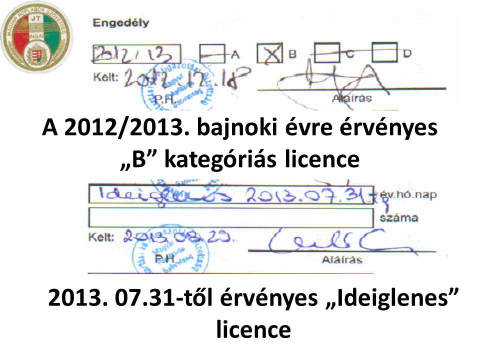 """A 2012/2013. bajnoki évre érvényes """"B kategóriás licence"""