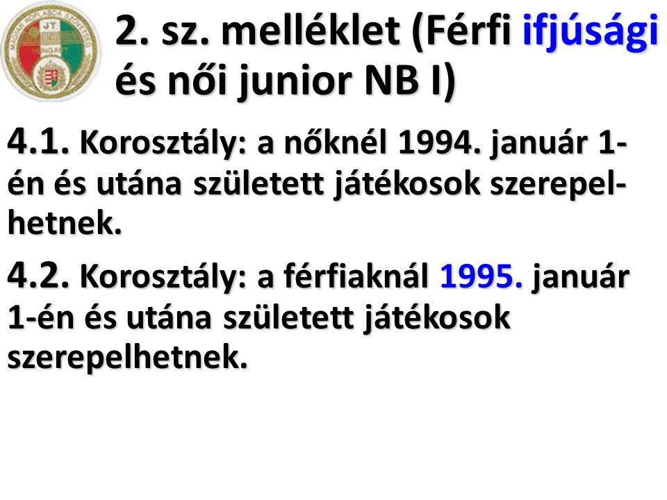 2. sz. melléklet (Férfi ifjúsági és női junior NB I)