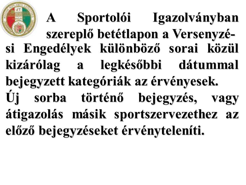 A Sportolói Igazolványban szereplő betétlapon a Versenyzé-