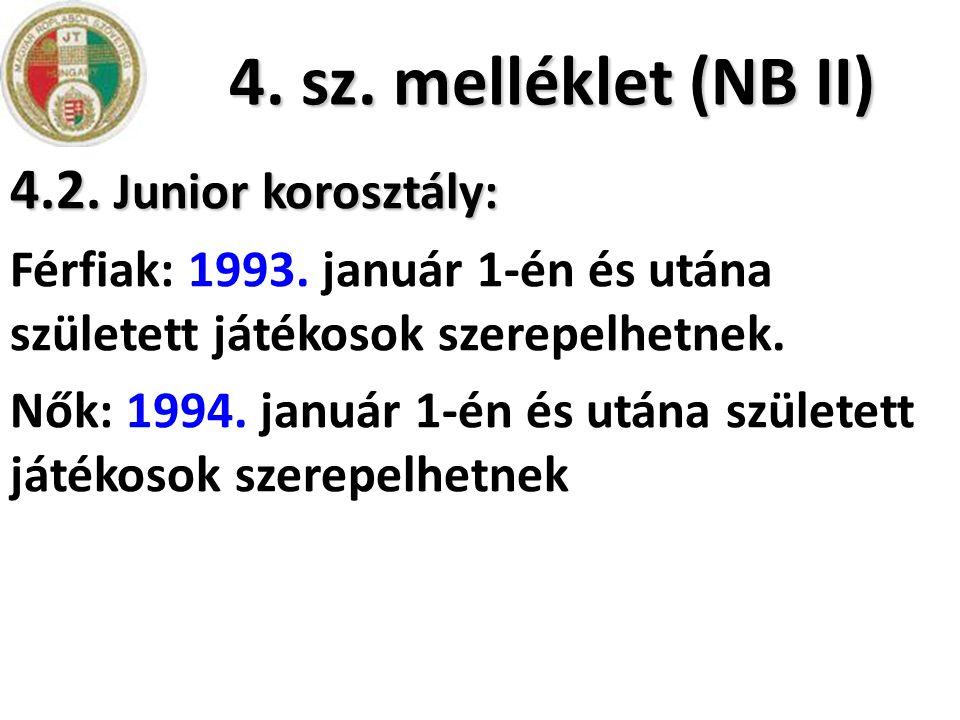 4. sz. melléklet (NB II) 4.2. Junior korosztály: