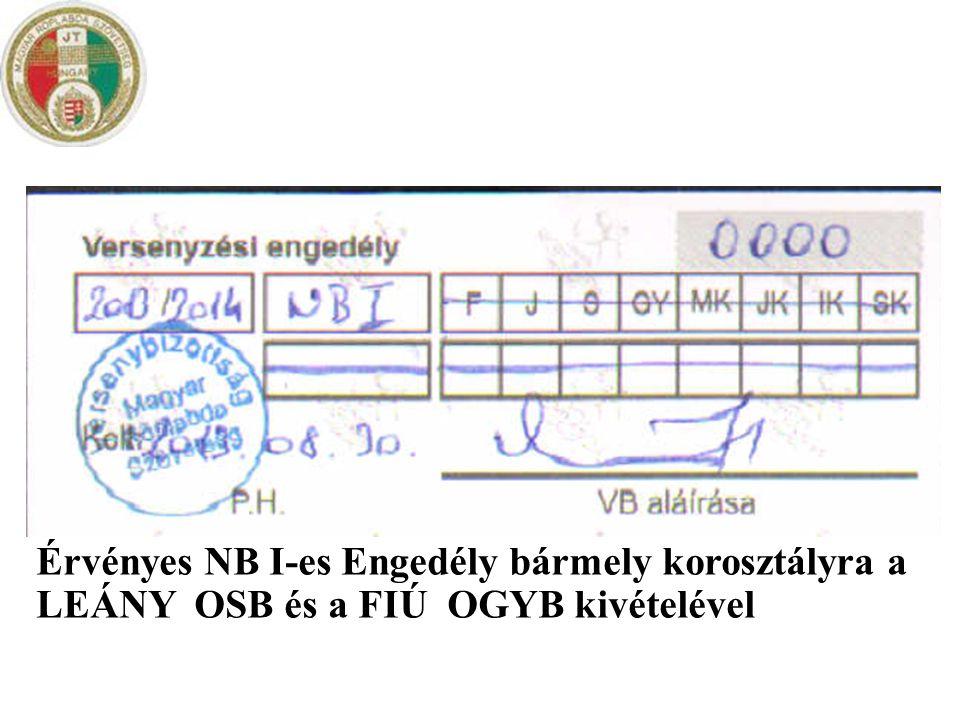 Érvényes NB I-es Engedély bármely korosztályra a LEÁNY OSB és a FIÚ OGYB kivételével