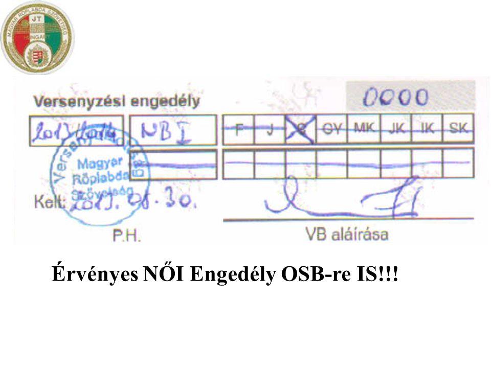 Érvényes NŐI Engedély OSB-re IS!!!
