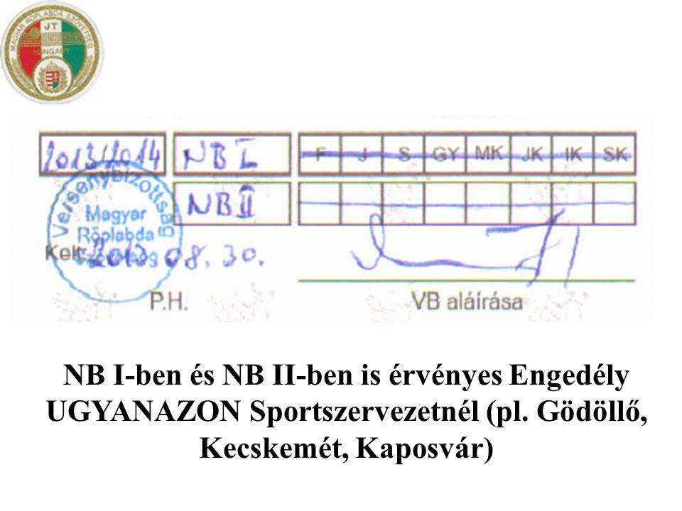 NB I-ben és NB II-ben is érvényes Engedély UGYANAZON Sportszervezetnél (pl.