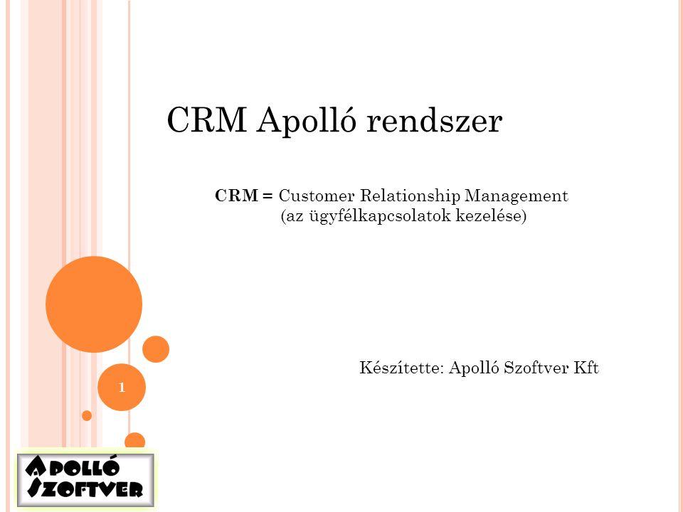 CRM Apolló rendszer CRM = Customer Relationship Management