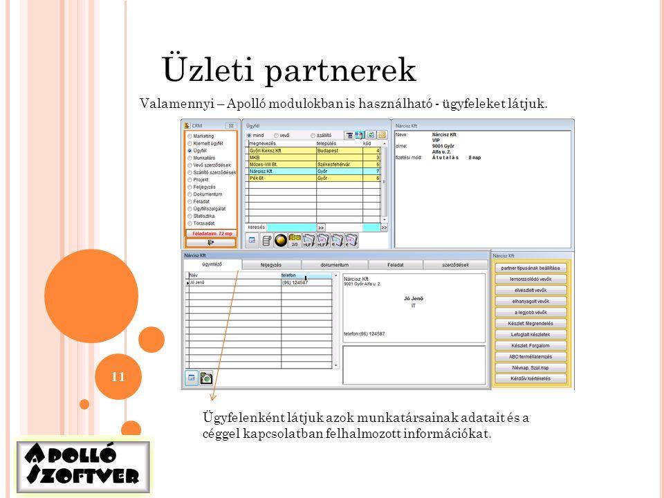 Üzleti partnerek Valamennyi – Apolló modulokban is használható - ügyfeleket látjuk.