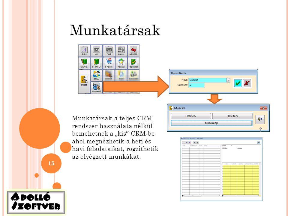 Munkatársak Munkatársak a teljes CRM rendszer használata nélkül