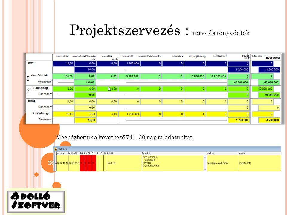 Projektszervezés : terv- és tényadatok