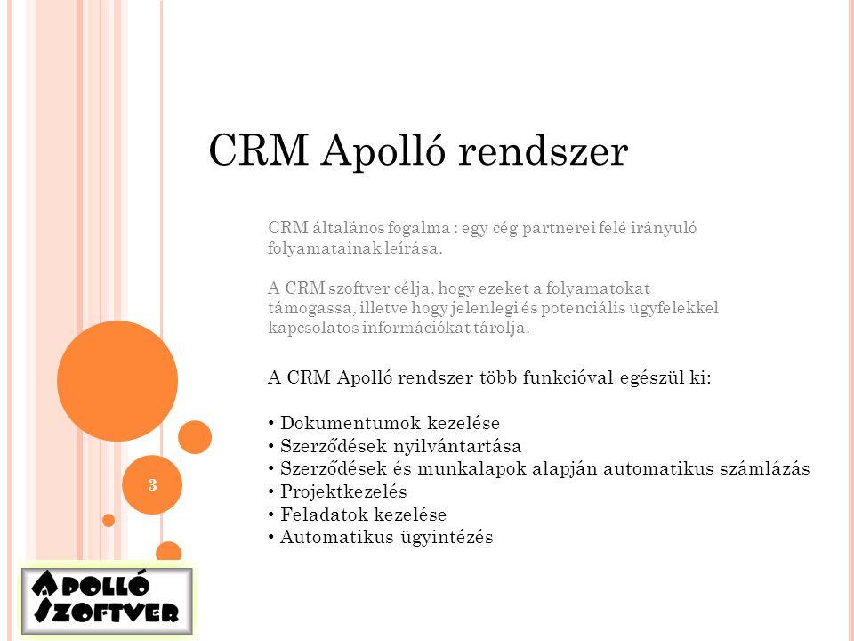 CRM Apolló rendszer A CRM Apolló rendszer több funkcióval egészül ki: