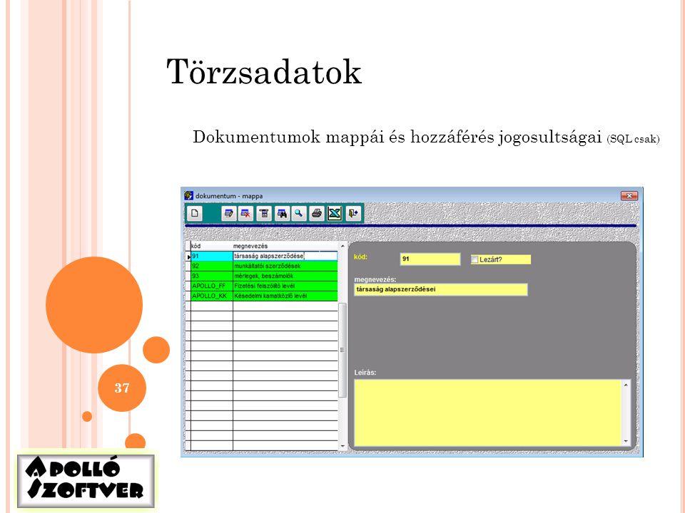 Törzsadatok Dokumentumok mappái és hozzáférés jogosultságai (SQL csak)