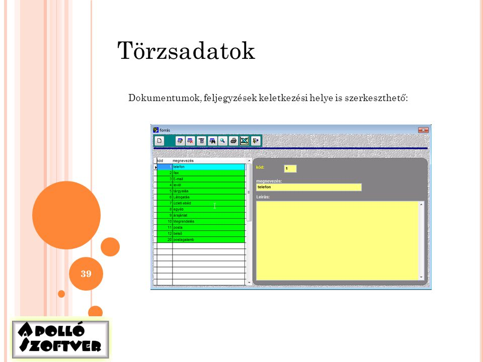 Törzsadatok Dokumentumok, feljegyzések keletkezési helye is szerkeszthető: