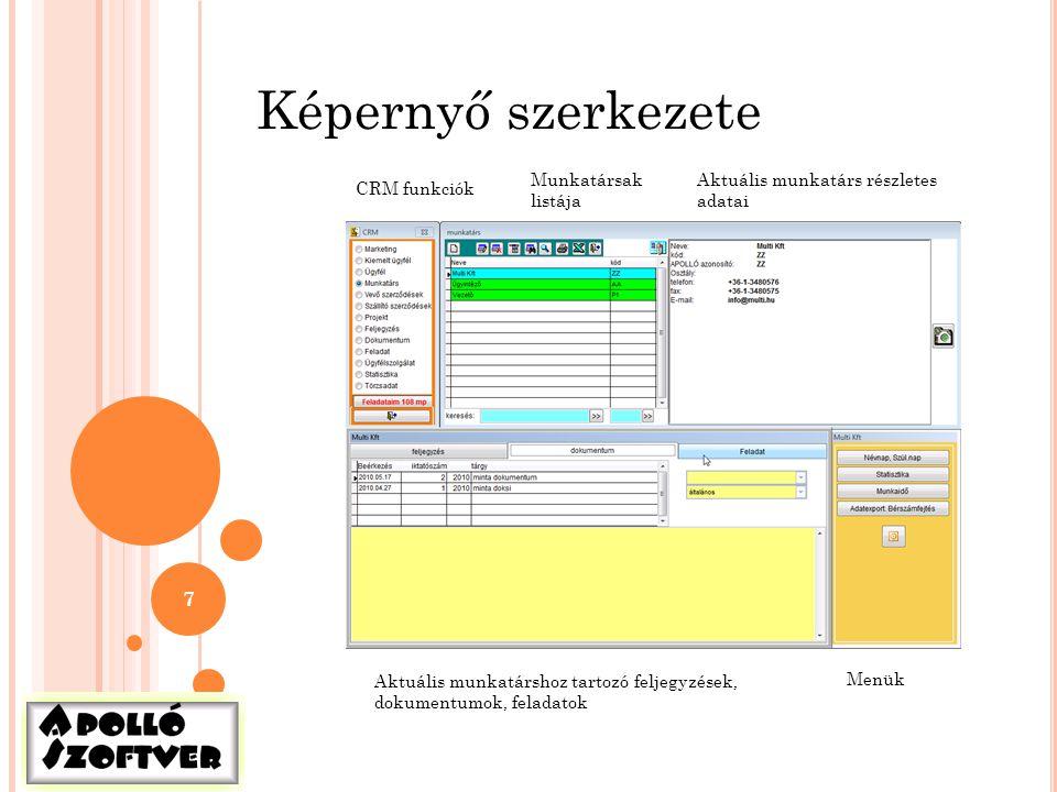 Képernyő szerkezete Munkatársak listája