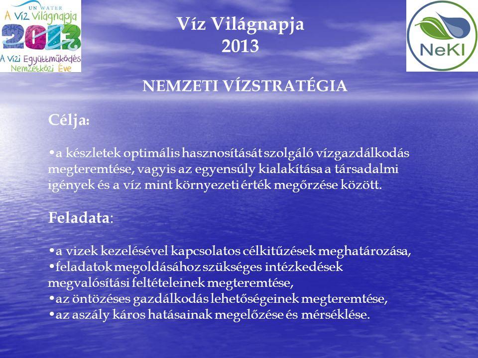 Víz Világnapja 2013 NEMZETI VÍZSTRATÉGIA Célja: Feladata: