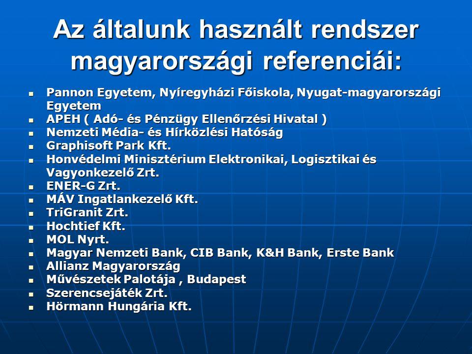 Az általunk használt rendszer magyarországi referenciái:
