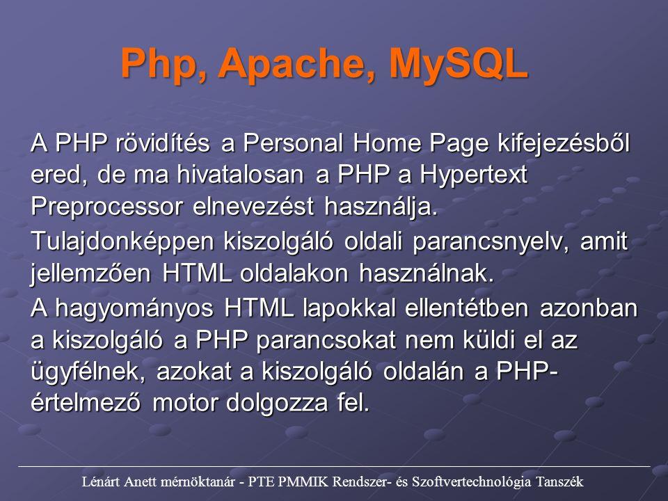 Php, Apache, MySQL A PHP rövidítés a Personal Home Page kifejezésből ered, de ma hivatalosan a PHP a Hypertext Preprocessor elnevezést használja.