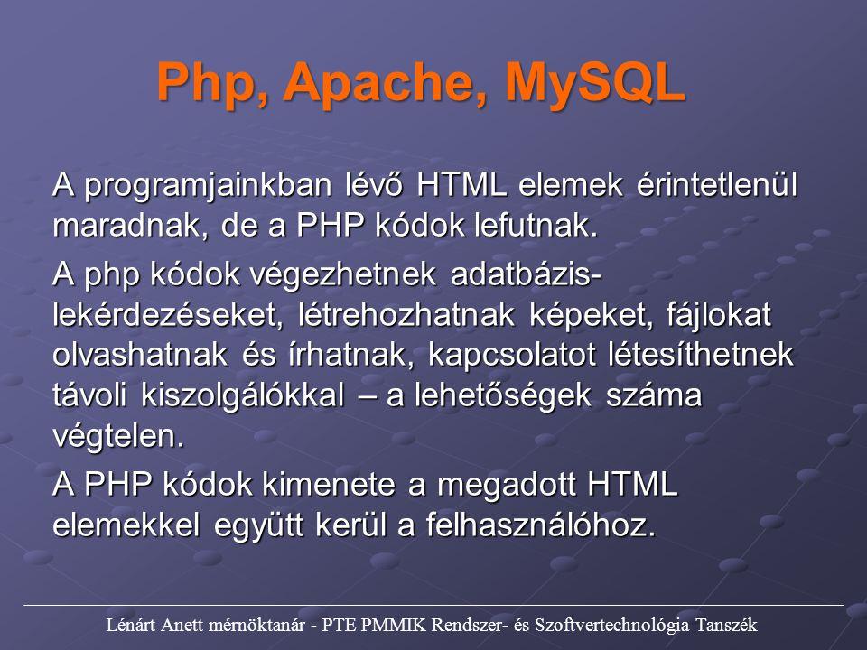 Php, Apache, MySQL A programjainkban lévő HTML elemek érintetlenül maradnak, de a PHP kódok lefutnak.