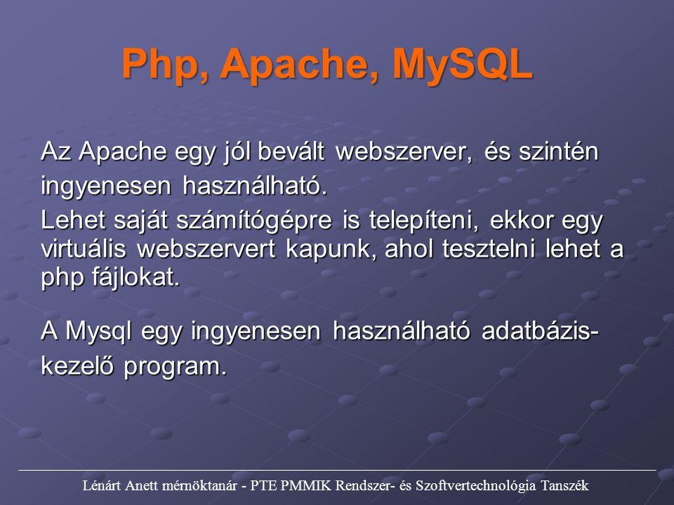 Php, Apache, MySQL Az Apache egy jól bevált webszerver, és szintén