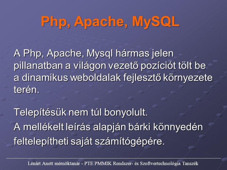 Php, Apache, MySQL A Php, Apache, Mysql hármas jelen pillanatban a világon vezető pozíciót tölt be a dinamikus weboldalak fejlesztő környezete terén.