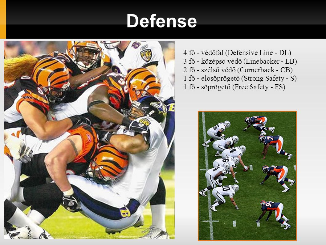 Defense 4 fő - védőfal (Defensive Line - DL)