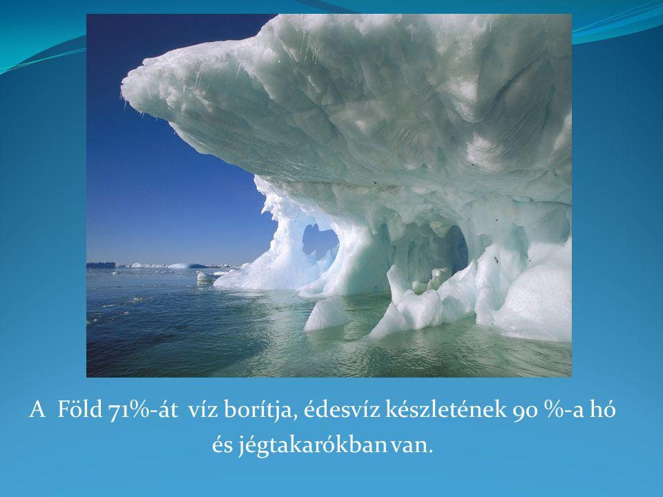 A Föld 71%-át víz borítja, édesvíz készletének 90 %-a hó