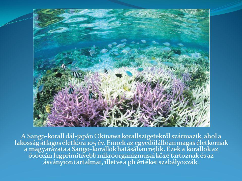 A Sango-korall dál-japán Okinawa korallszigetekről származik, ahol a lakosság átlagos életkora 105 év.