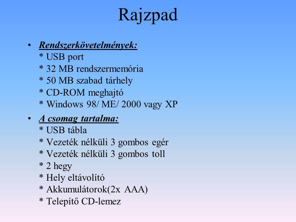 Rajzpad Rendszerkövetelmények: * USB port * 32 MB rendszermemória * 50 MB szabad tárhely * CD-ROM meghajtó * Windows 98/ ME/ 2000 vagy XP.
